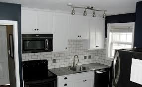 Backsplash For Black And White Kitchen Black Subway Tile Backsplash Kitchen Design With Crisp Shaker