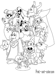 undertale coloring pages print color style kids