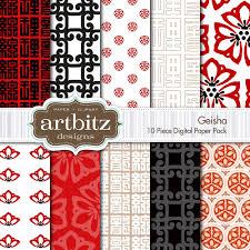 geisha 10 themed digital scrapbooking paper