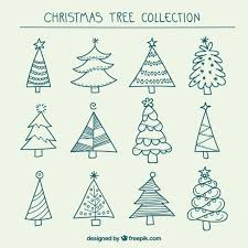 hand drawn christmas trees collection vector free download