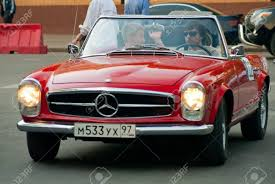 classic mercedes moscow may 15 unidentified man in red vintage mercedes on