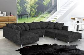 couch mit hocker wohnlandschaft sofa couch ecksofa eckcouch in gewebestoff schwarz