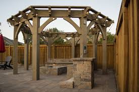 arch tiered pergola w octagon trellis western timber frame