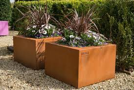 cor ten steel planter square contemporary florence walfilii
