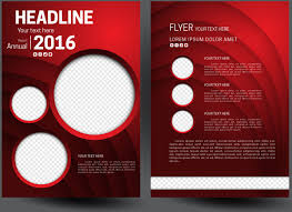 annual report flyer template on 3d red background free vector in