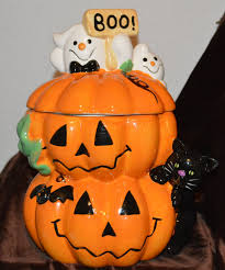 david u0027s cookies large cookie jar pumpkin ghosts cat halloween decor