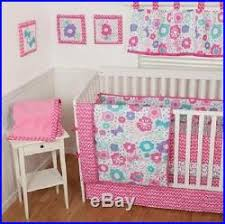 10pc pink purple aqua baby girls floral butterfly crib bedding