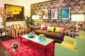family home interior design yellow sofa tv on wall gold interior
