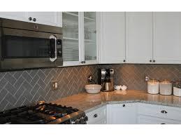 kitchen backsplash tile patterns lush 3x6 taupe glass subway tile in herringbone pattern kitchen
