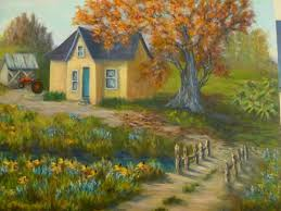 Painting Of House by Fall Country Farmhouse In Old Paintings Country Farmhouse