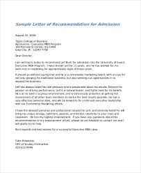 Letter Of Recommendation Template For College Admission Sle Letter Of Recommendation 23 Free Documents In Doc