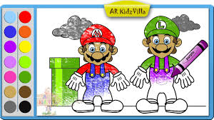 learn colors for kids and color mario and luigi coloring page pt