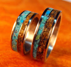 turquoise wedding rings titanium rings wedding rings turquoise rings tigers eye