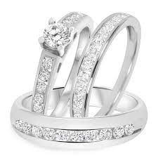 trio wedding sets 1 1 2 ct t w diamond trio matching wedding ring set 14k white gold