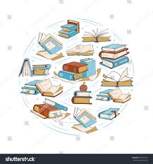 sketch doodle drawing books library book stock vector 535914577