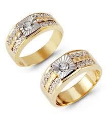 gold wedding rings sets 14k white yellow gold channel cz wedding ring set matching