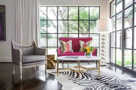 West Elm Cowhide Rug Pink French Wingback Settee With Oval Brass And Marble