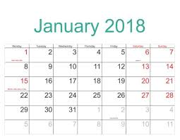 january 2018 calendar printable template pdf with holidays