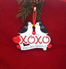 kissing penguins xoxo personalized christmas ornament first