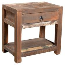 Wood Side Table Reclaimed Wood Side Table And Drawer 23h X 18w X 18d