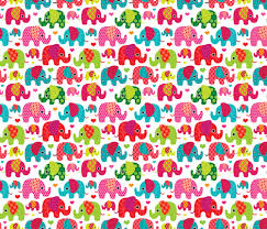 kids wrapping paper retro kids indian elephant pattern fabric fabric by