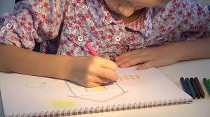 4k child drawing house coloring kids making craft children