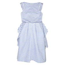 junior gaultier girls blue and white striped sleeveless dress with