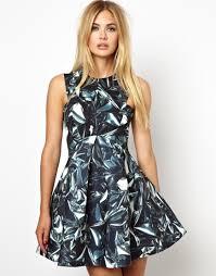 aq aq dress lyst aq aq major structured skater dress in digital print in black