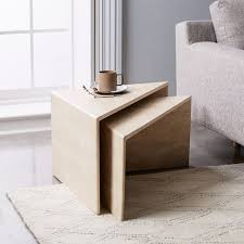 side table set of 2 nesting travertine side tables set of 2 west elm