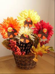 thanksgiving crafts for children flower turkey centerpieces