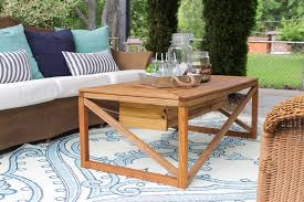 outdoor coffee table with beverage cooler shades of blue interiors