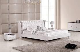 Leather Platform Bed White Leather Platform Bed
