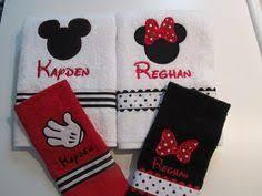 Minnie Mouse Bathroom Rug Mickey Mouse Minnie Mouse Personalized Embroidered Towel Set Of 3