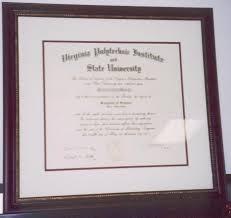 virginia tech diploma frame framed documents