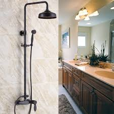 retro black rubbed bronze bathroom exposed shower faucets