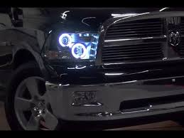 2011 dodge ram headlight replacement spyder halo projector headlights with leds installation on dodge