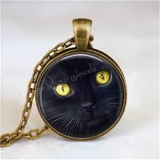 black cat pendant necklace images Black cat necklace peeking cat kitten cat jewelry cat pendant jpg