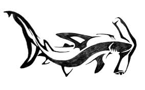 black ink hammerhead shark tattoo design