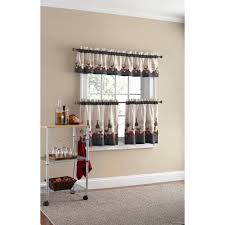 Kitchen Curtains Sets Mainstays Vineyard 3 Piece Kitchen Curtain Set Walmart Com