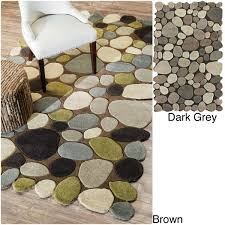 Overstock Rugs 5x8 Nuloom Hand Carved Stones And Pebbles Wool Rug 5 U0027 X 8