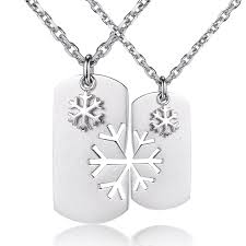 dog tag jewelry engraved blue sweet necklaces snowflake puzzle dog tag necklaces