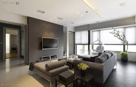 apartment living room interior design dark brown leather lovely
