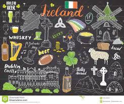 Whiskey Flag Ireland Sketch Doodles Hand Drawn Irish Elements Set With Flag