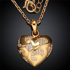 heart shaped charm necklace images 24k yellow gold rose gold color pendant necklace heart shaped jpg