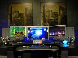 interior gaming room design idea with redwood desk complete with