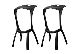 Baxton Studio Bar Stools Baxton Studio Zinley Black Molded Plastic Modern Bar Stool Set Of 2