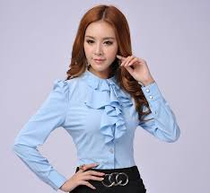 Muito Escritório uniforme blusas primavera outono fino Blusa e Camisas  &QC08