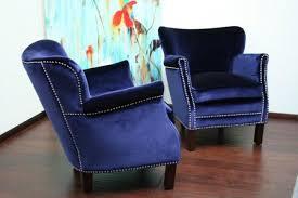 Blue Velvet Accent Chair Royal Blue Velvet Small Arm Chair With Nickel Nailhead Trim 2