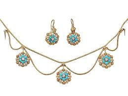 yellow turquoise necklace images Earring and necklace set in 15ct yellow gold antique jpg