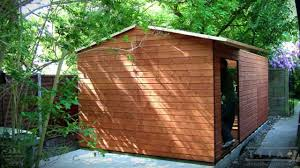shed install garden shed with shiplap cladding and felt tiled roof